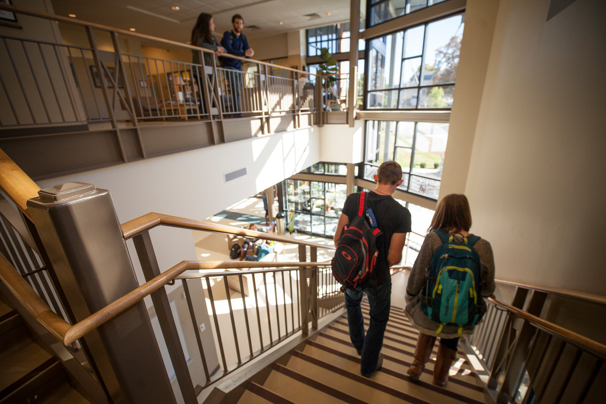 The lobby in Balzer Technology Center is a common area for students to gather to study and hang out.