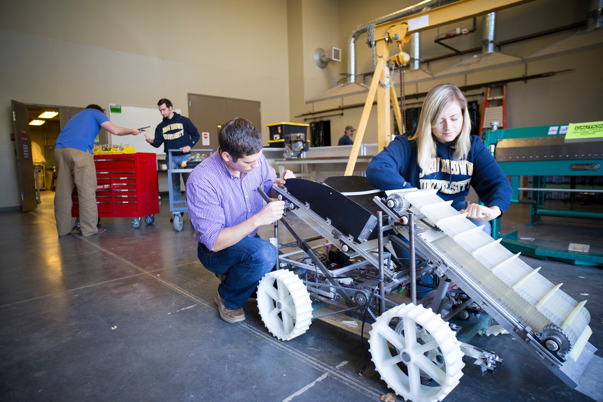 Each year, students have the ability to build a robot and enter it into competition at the NASA Lunabotic Mining Competition.