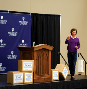 Blake Mycoskie addresses students during Leardership Week