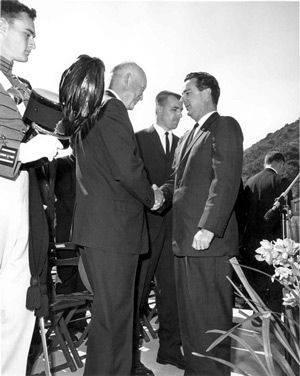 President Dwight Eisenhower meets with John E. Brown Jr. in Southern California