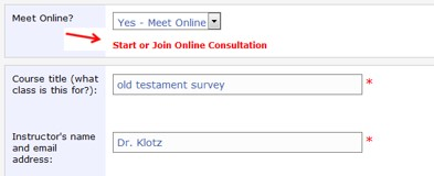 Screenshot of appointment form showing link to enter online chat room.